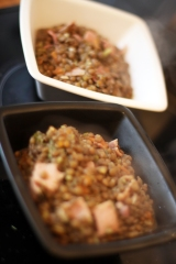 Vegetable Brown Lentils with Bacon – gluten free, with recipe